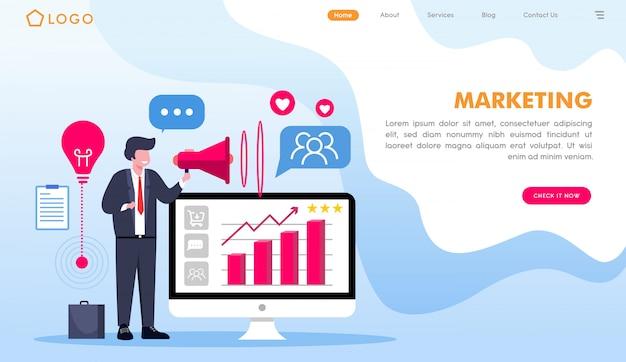 フラットスタイルのマーケティングwebサイトのランディングページ