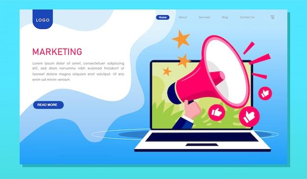 マーケティング戦略のデジタルwebサイトのランディングページ