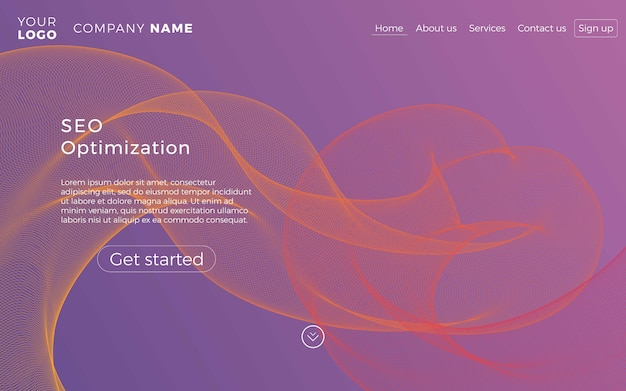 Webページのデザインテンプレート。ウェブサイトおよびモバイルウェブサイトの開発のための抽象的な現代概念