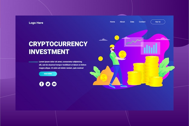 Webページのヘッダー暗号通貨投資イラストコンセプトランディングページ