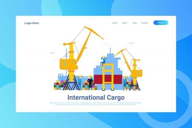 Webページのヘッダー国際貨物イラストコンセプトランディングページ