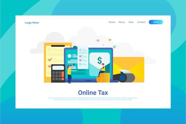 Webページヘッダーのオンライン税の図の概念のランディングページ