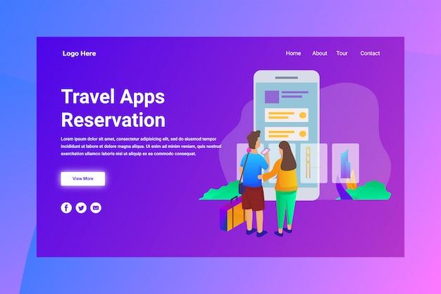 Webページのヘッダー旅行アプリ予約の図の概念のランディングページ