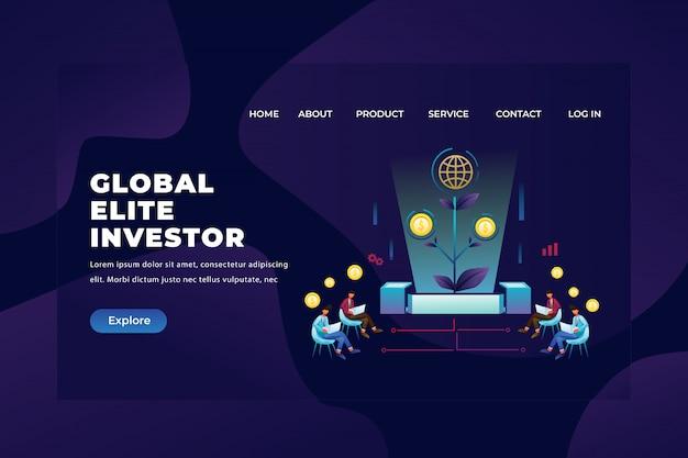 グローバルエリート投資家グループが投資を収集して観察する、webページヘッダーのランディングページテンプレート