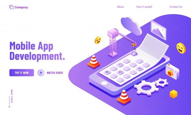 モバイルアプリ開発webサイトのポスターまたはランディングページのデザインのためのソーシャルメディアと分析ツールの管理。