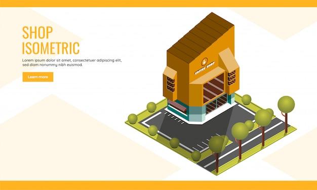 ショップランディングページまたはwebポスターデザインの庭の庭の背景に建物のコーヒーショップのアイソメ図。