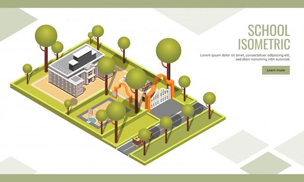 ウェブサイトデザインの等尺性、建物のランディングページまたはwebテンプレート