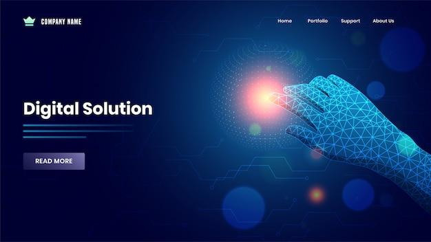 Webバナーまたはランディングページが手でデジタルソリューションの青いメッシュネットワーク上の仮想ディスプレイに触れています。