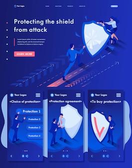 攻撃からシールドの後ろに隠れているビジネスマンの等尺性webランディングページ