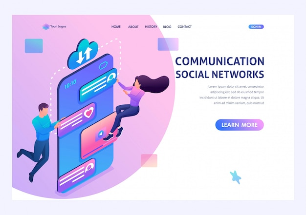 若者は、電話のアプリを介してソーシャルネットワークで通信します。現代の技術の概念。リンク先ページの概念とwebデザイン