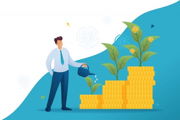 青年実業家は、投資、資本、収入の伸びを節約し、増やします。フラットなキャラクター。 webデザインのコンセプト