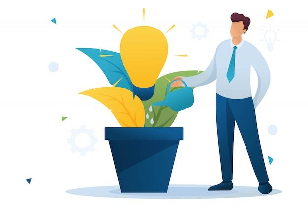 若い男は、成長しているビジネスアイデア、ビジネスのスタートアップでポットに水をまきます。フラットなキャラクター。 webデザインのコンセプト