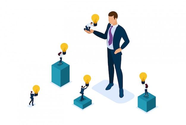 等尺性ブライトコンセプトサイトビジネスマンは、スタートアップ、ビジネスの成長に投資する投資機会を提供しています。 webデザインのコンセプト
