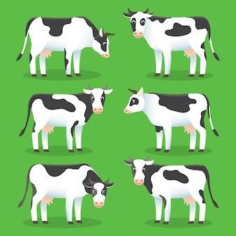 緑の背景に農場の動物の牛。ロゴとwebのためのスタイルで白と黒の牛のセット。農場の牛の漫画のキャラクター。