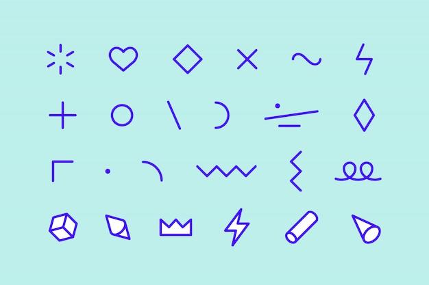 スタイル要素。メンフィス要素、ライングラフィックデザイン、パターン、ライングラフィック、webデザインのテンプレートのセット。カラフルなコレクションの幾何学的なグラフィック。図