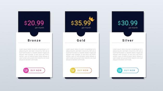 Webおよびモバイルアプリケーション向けの、モダンでシンプルな価格表のカラフルなデザイン。