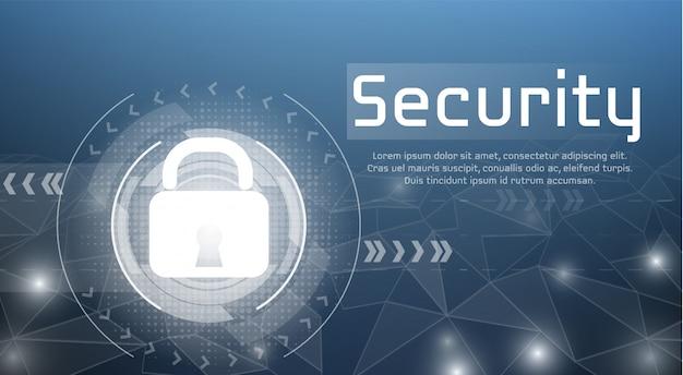 安全なアクセスと許可されたアクセスのためのサイバー暗号化ロックのwebセキュリティの図。