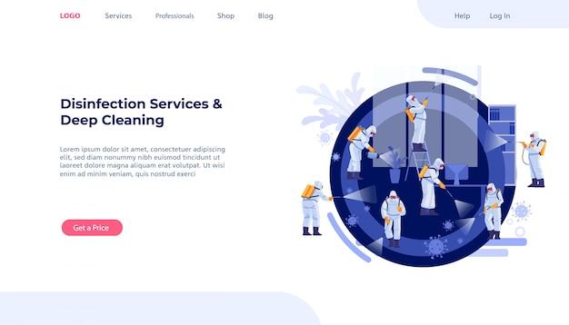 消毒サービスとディープクリーニングのコンセプト。コロナウイルスパンデミック。感染を抑制するための制服洗浄と除染の管理人のグループ。 webページのデザインテンプレート。図