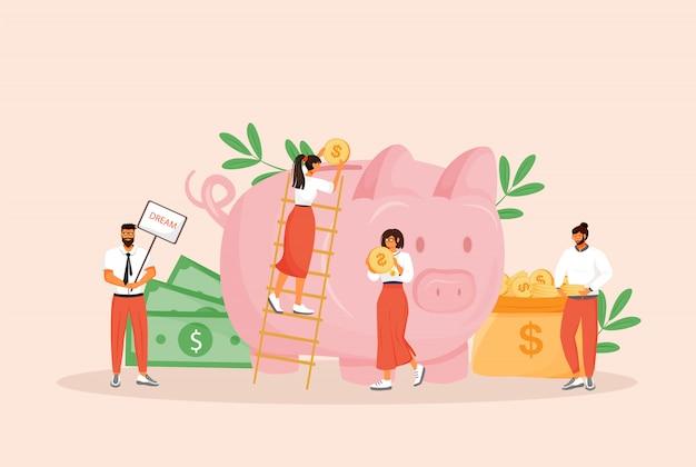 お金の節約の概念図。男性と女性は、webデザインの予算の漫画のキャラクターを計画しています。銀行預金、将来の投資、年金基金、財政管理の創造的なアイデア