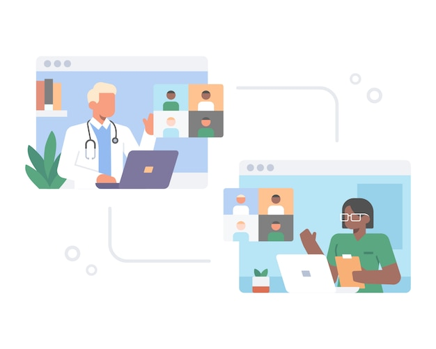 医師は、ラップトップまたはコンピューターの図の概念から電話会議アプリケーションのwebサイトを使用してビデオ通話でオンライン会議をしています