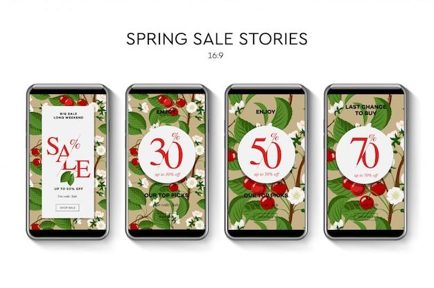 ソーシャルメディアモバイルアプリの春のセールwebバナーのセットです。販売と割引のプロモーション、イラスト。