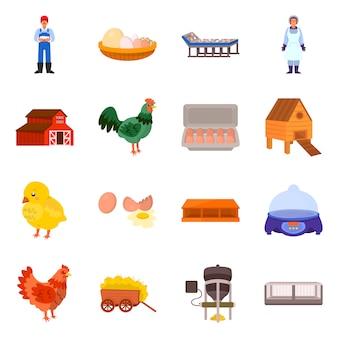 農場と家禽のアイコンの孤立したオブジェクト。 webの農場と農業のストックシンボルのセット。