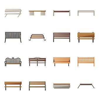 椅子と公園のロゴのベクトルイラスト。 webの椅子と通りのストックシンボルのコレクション。