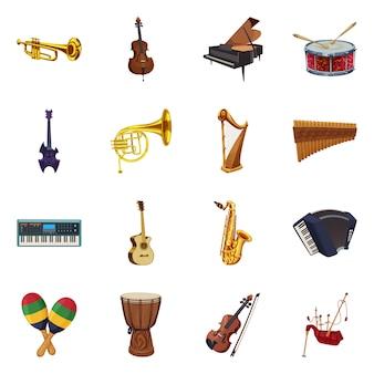 音楽と曲のアイコンの孤立したオブジェクト。 webの音楽とツールのストックシンボルのコレクション。