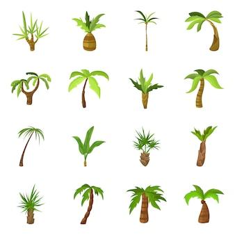 ツリーとビーチのシンボルのベクトルイラスト。 webのツリーと夏の株式記号のセット。