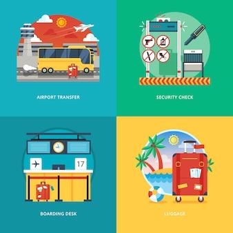 空港送迎、セキュリティチェック、搭乗デスク、荷物サービスのイラスト概念のセットです。空の旅と観光。 webバナーと販促資料の概念。