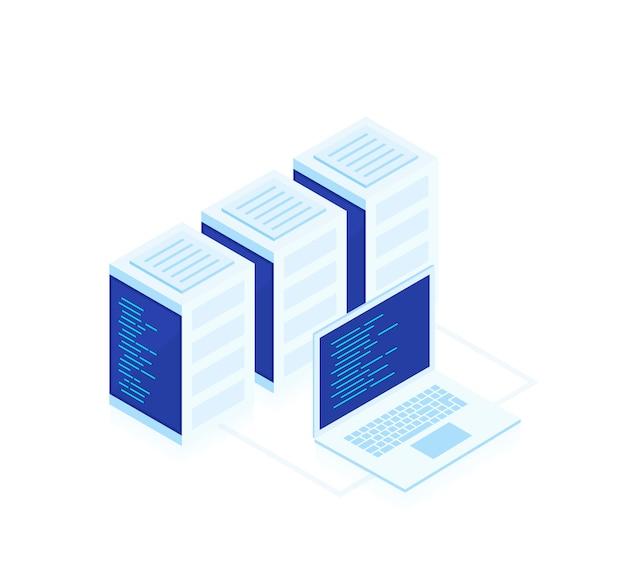Webホスティングの概念。ビジネスネットワークサーバーとラップトップのベクトル等尺性マップ。クラウドストレージデータとデバイスの同期。現代の小話