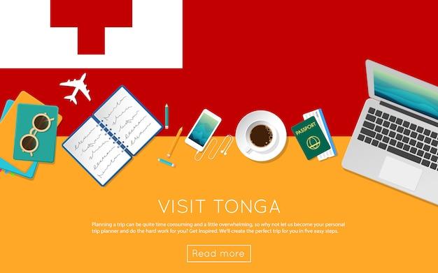 Webバナーや印刷物のトンガのコンセプトをご覧ください。トンガの国旗にノートパソコン、サングラス、コーヒーカップの平面図です。フラットスタイルの旅行計画のウェブサイトのヘッダー。