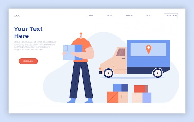オンライン配信サービスのコンセプト、小包とトラックの宅配便。インターネット配送webバナー。ランディングページテンプレート。