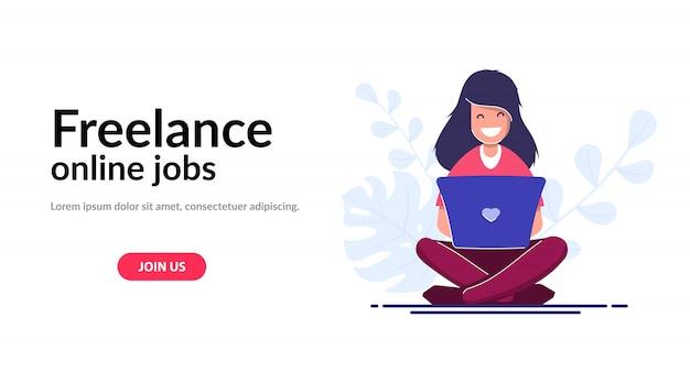 フリーランスのコンセプトwebテンプレート。ラップトップを持つ少女、従業員は自宅や旅行中に働いています