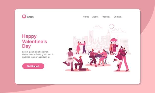 バレンタインデーのランディングページテンプレート。モダンなフラットスタイルのベクトル図と恋にロマンチックなカップル。 web、バナー、ポスター、ランディングページに適しています