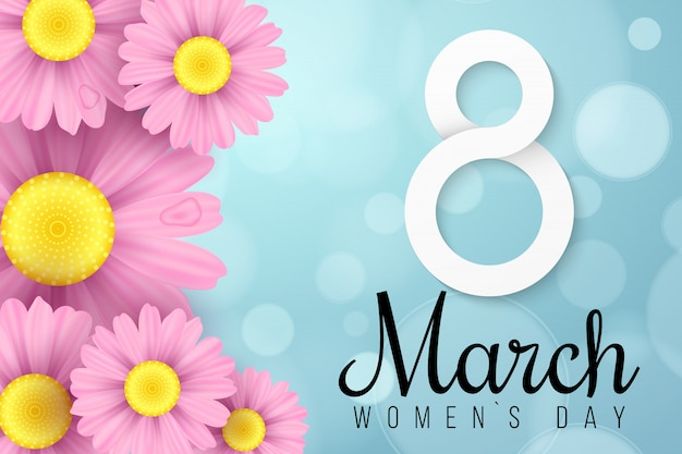 国際女性の日のピンクのデイジーの花。グリーティングカード。ロマンチックな作曲。お祝いwebバナー。抽象的なライトのボケ味。