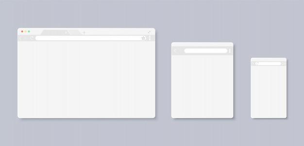 コンピューター、タブレット、およびスマートフォン用のwebページウィンドウ。