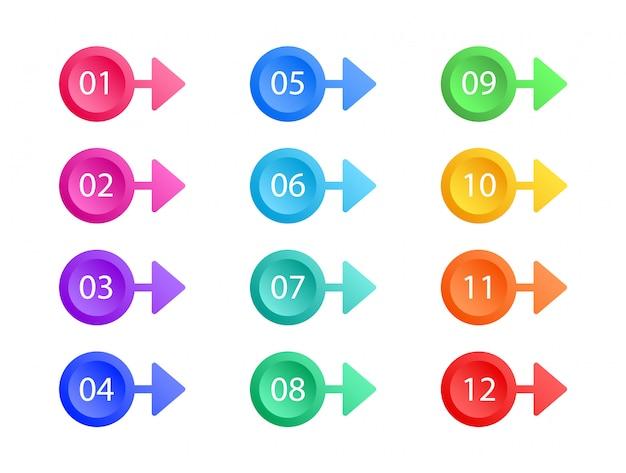 箇条書きのセット。矢印ベクトル。カラフルなwebボタン。要素。
