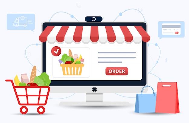 オンライン食品注文。食料品の配達。 webブラウザページの製品カタログ。ショッピングボックス。家にいる。隔離または自己分離。フラットスタイルのモダンなイラスト。