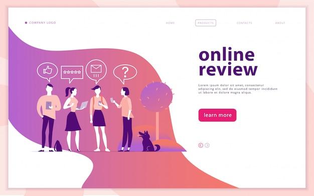 オンラインレビューをテーマにしたwebページのコンセプトデザイン。モバイルデバイス-ラップトップ、タブレット、スマートフォンを持っている人-星、評価を与えます。親指、星の線のアイコン。リンク先ページ、モバイルアプリ、サイト。