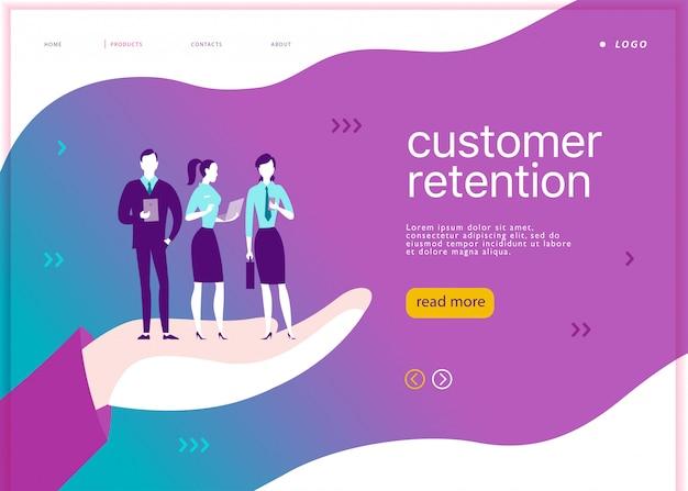 Webページのコンセプトデザイン-顧客維持のテーマ。モバイルデバイスを持つオフィスの人々は、大きな人間の手の上に立ちます。リンク先ページ、モバイルアプリ、サイトテンプレート。ビジネスイラスト。インバウンドマーケティング。