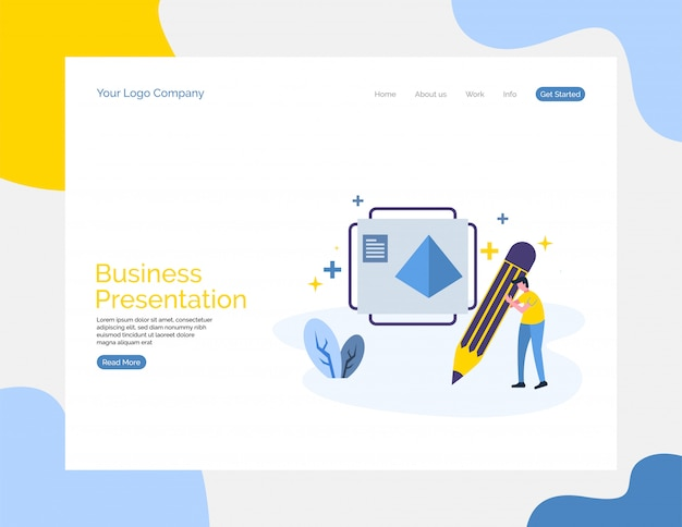 Webサイトのビジネスプレゼンテーションのベクトルの背景。