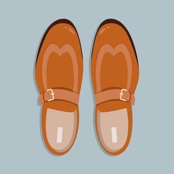 メンズシューズトップダウンビュー。ひものイラストのないクラシックなライトブラウンのメンズシューズ。 webおよび印刷用の手描きのクリップアート。男性の靴のペアのトレンディなレイアウトスタイルのイラスト。