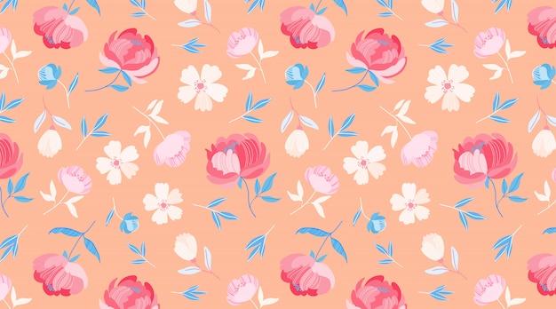 オレンジ色の春の花模様。パステルオレンジの背景に美しい丸い様式化された牡丹の花。 web、布、繊維、包装紙のミニマルなシームレス花柄。かわいい花。