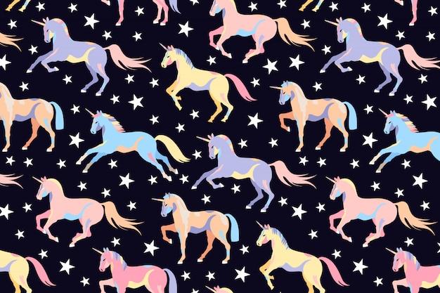 暗いユニコーンパターン。シームレスなユニコーンと星のデザイン。美しい魔法の馬。子供のイラストポニー。ユニコーンを実行しています。 webと印刷の手描きデザイン。