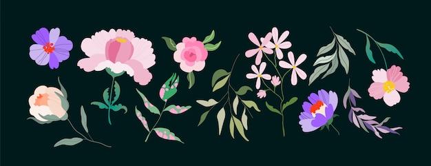 フラワーズ。ロゴ、パターン、webおよびアプリのさまざまな花要素のセットです。フェミニンで活気のあるワイルドローズ、木の枝、野の花。手描きのトレンディなイラスト。