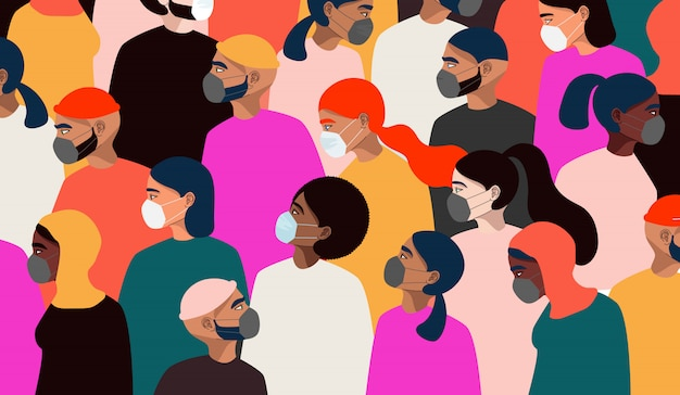コロナウイルスパンデミック。医療用フェイスマスクを身に着けているさまざまな人々。世界的な検疫コンセプト。カラフルな人々が群衆します。手描きの男性と立っている女性。トレンディなwebとアプリのイラスト。