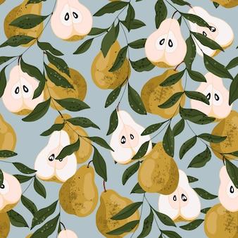 梨のシームレスなパターン。青色の背景に美しい梨の果実。包装紙、文房具、繊維、webバナーのモダンな手描き。有機生鮮食品のテクスチャです。