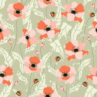 ケシの花のシームレスなパターン。緑の背景に美しい柔らかいオレンジ色の手描きのケシの花。文房具、繊維、webバナーの繰り返し。トレンディな野の花のパターン。
