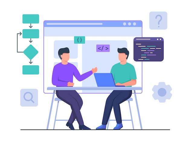 ラップトップでのパートナーの仕事と男性プログラマーのコラボレーションは、フラットな漫画のスタイルでプロジェクトデザインのwebサイトを作成します。